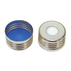 18 mm Pre-Assm Silver Screw Cap w/Sil White/PTFE Blue Septa(100/pk)